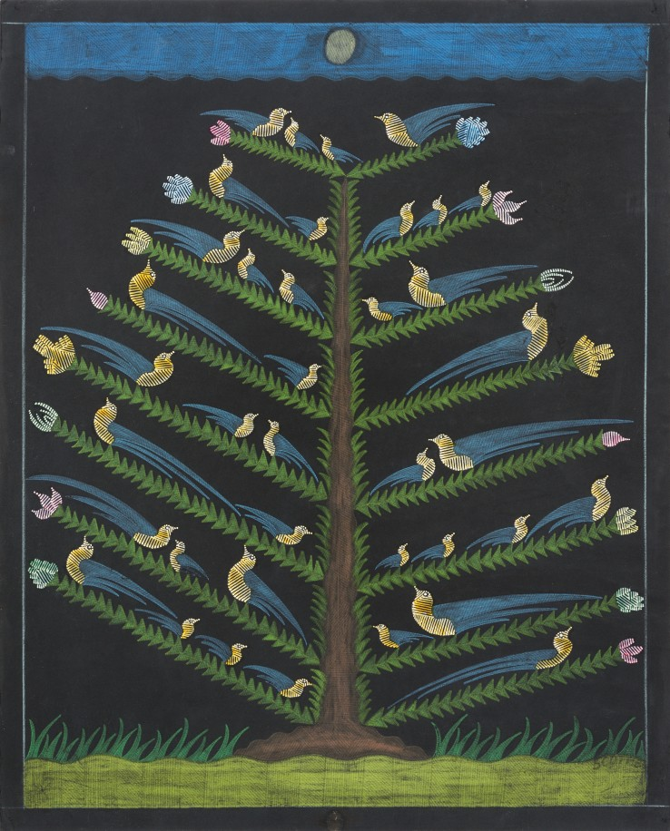 Scottie Wilson  Untitled (Bird Tree), c.1960  Ink and crayon on black paper  63 x 51 cm  Signed lower right recto