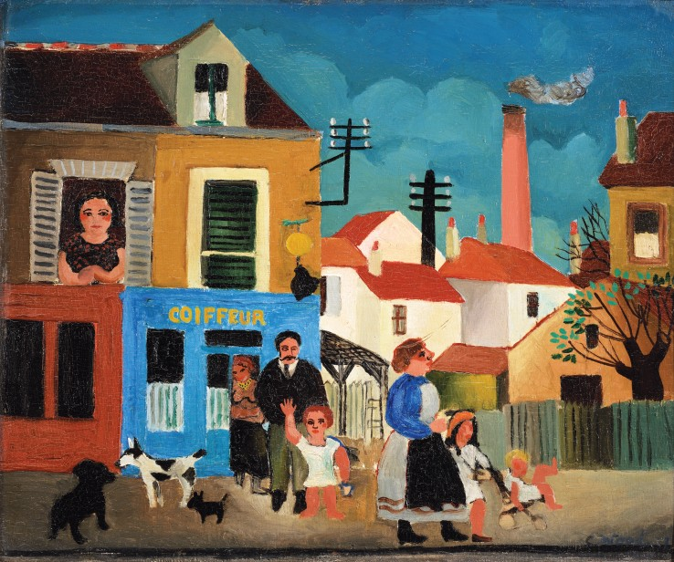 Christopher Wood  The Barber's Family, 1927  Oil on canvas laid on board  38 x 46 cm  Signed and dated lower right