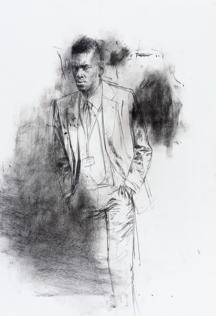 Paul Emsley  Faces of London [No. 5], 2016  Chalk on paper  50 x 34 cm  Initialled lower left, signed and dated verso