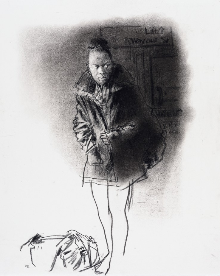 Paul Emsley  Faces of London [No. 22], 2015  Chalk on paper  36 x 28.5 cm  Initialled lower left, signed and dated verso