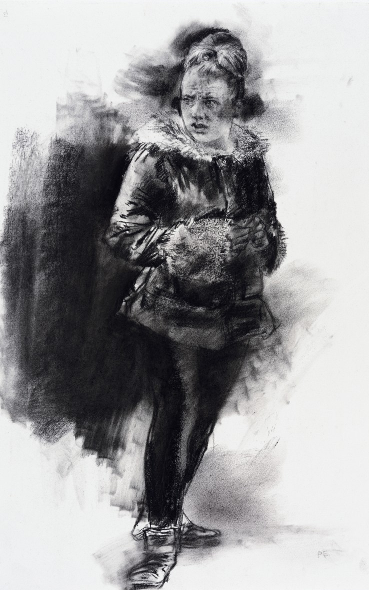 Paul Emsley  Faces of London [No. 11], 2016  Chalk on paper  39 x 25 cm  Initialled lower right, signed and dated verso