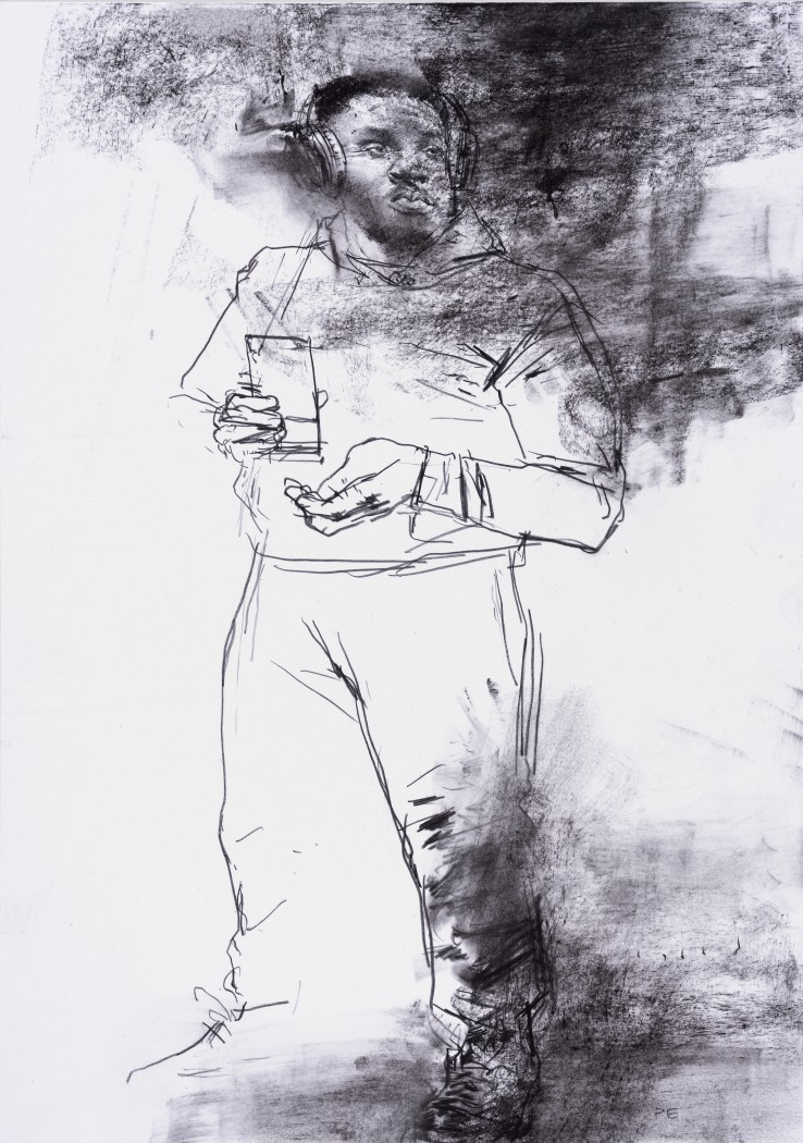 Paul Emsley  Faces of London [No. 24], 2017  Chalk on paper  30 x 21 cm  Initialled lower right, signed and dated verso