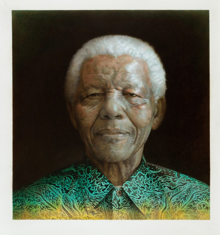 Paul Emsley  Nelson Mandela, 2015  Acrylic on paper  91 x 86 cm  Signed and dated verso