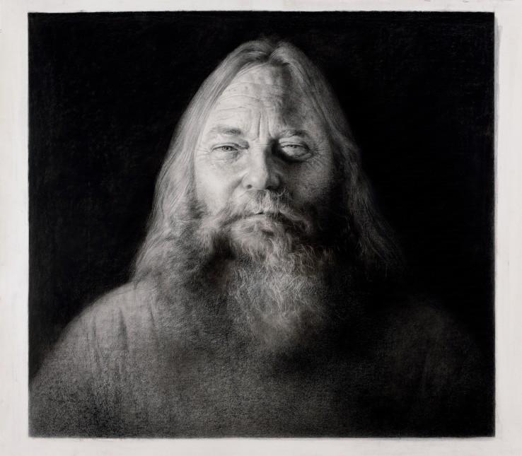 Paul Emsley  Willem Boshoff, 2017  Black chalk on paper  101 x 113 cm