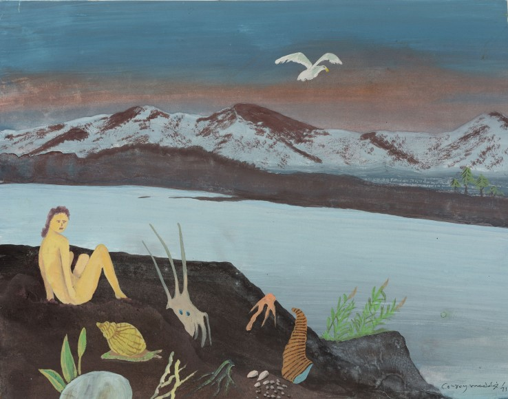 Conroy Maddox  Untitled (figure on the rocks), 1971  Gouache on paper  30 x 39 cm  Signed and dated lower right