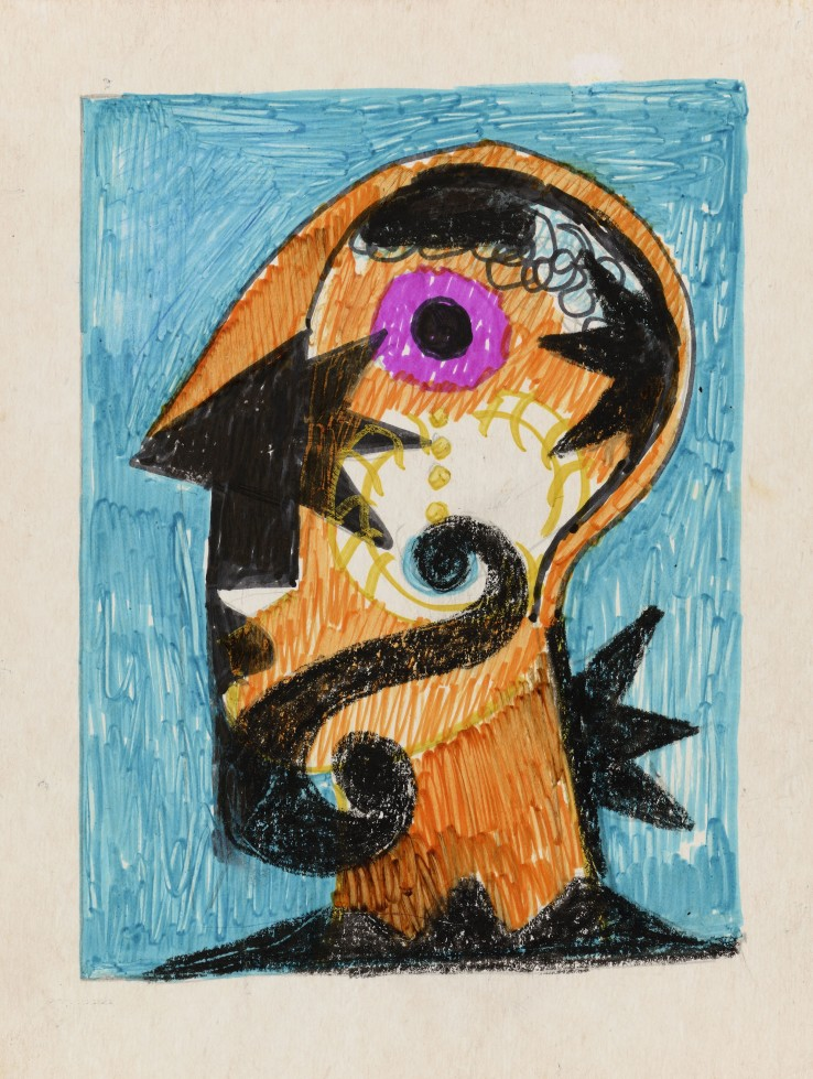 Eileen Agar RA  Untitled  Felt-tip and pastel on card  15 x 13 cm