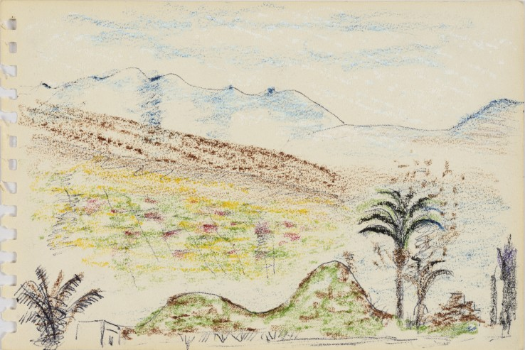 Eileen Agar RA  Untitled (Tenerife Landscape), 1950s  Oil pastel and biro on paper  12.2 x 19 cm