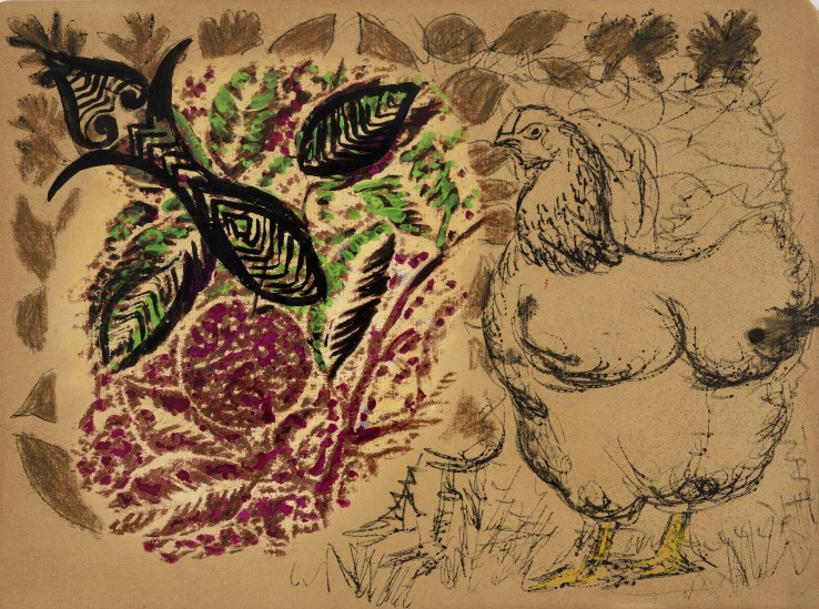 Eileen Agar RA  Untitled (with a Hen)  Gouache, pen, and wax crayon on paper  19 x 25.5 cm