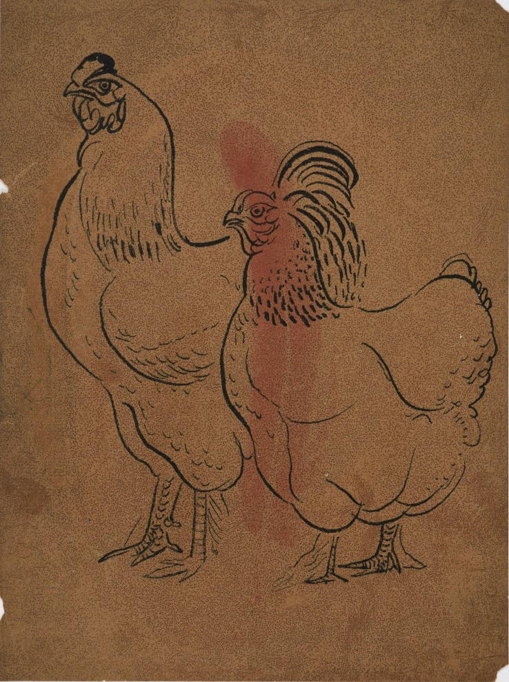 Eileen Agar RA  Untitled (Rooster and Hen)  Ink and watercolour wash on oil-soaked paper  25.3 x 19 cm