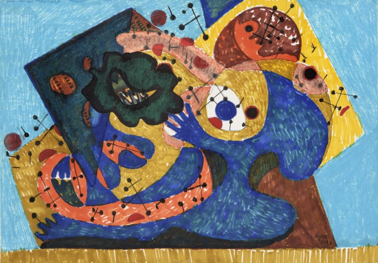 Eileen Agar RA  Rhythm and Blues, 1984  Felt-tip on paper  21 x 30 cm  Signed and dated lower right