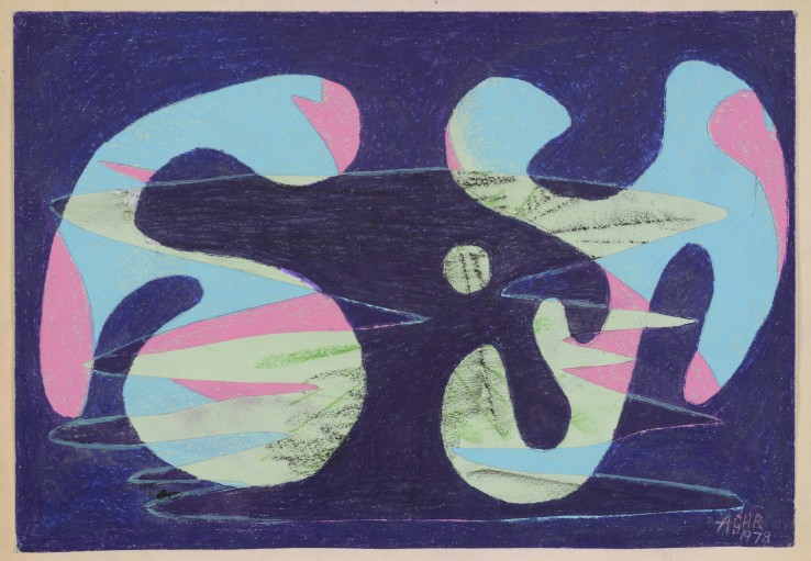 Eileen Agar RA  This Pinky Coloured Mount, 1978  Crayon and collage on paper  29.6 x 40.6 cm  Signed and dated; titled verso