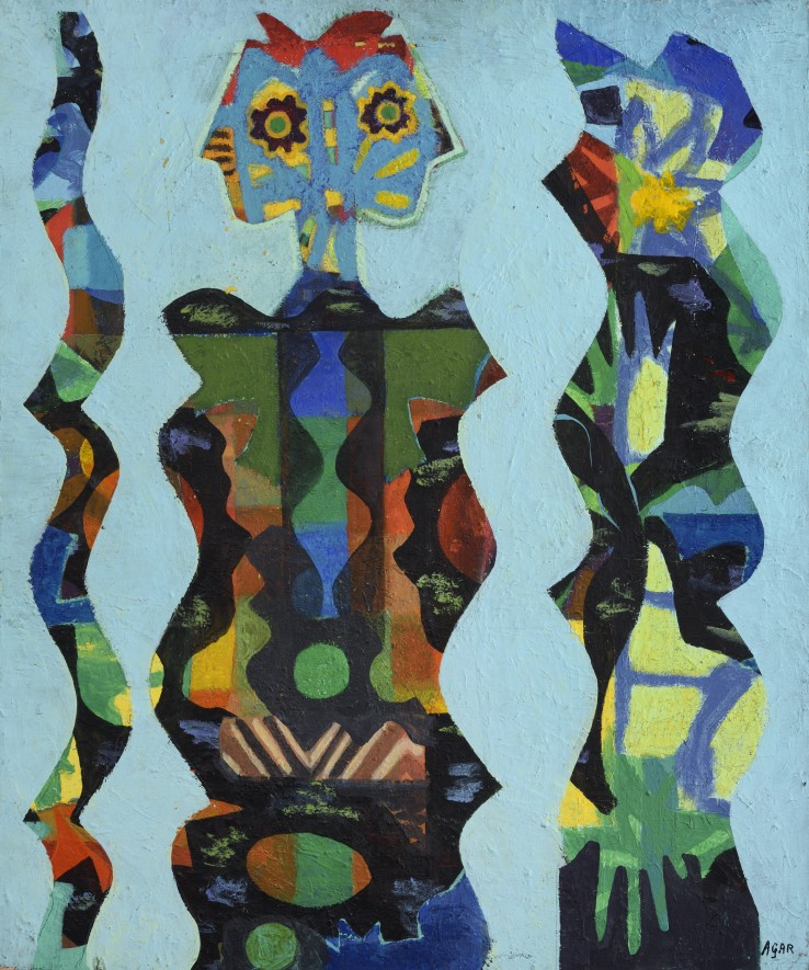Eileen Agar RA  Three Figures, 1965-66  Oil on canvas  77 x 64 cm  Signed lower right; titled and dated verso