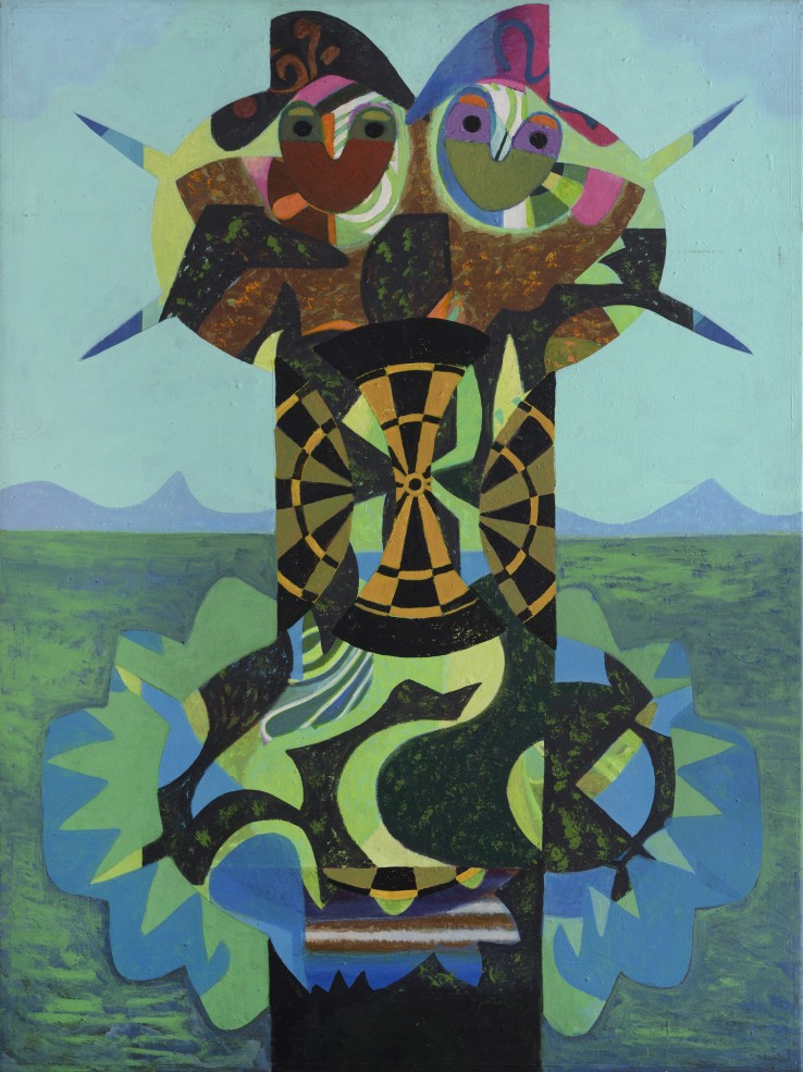 Eileen Agar RA  Couple in a Landscape, 1981  Acrylic on canvas  102 x 76 cm  Signed, titled and dated verso