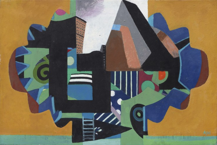 Eileen Agar RA  Cityscape, 1983  Oil on canvas  51 x 76 cm  Signed lower right; titled and dated verso