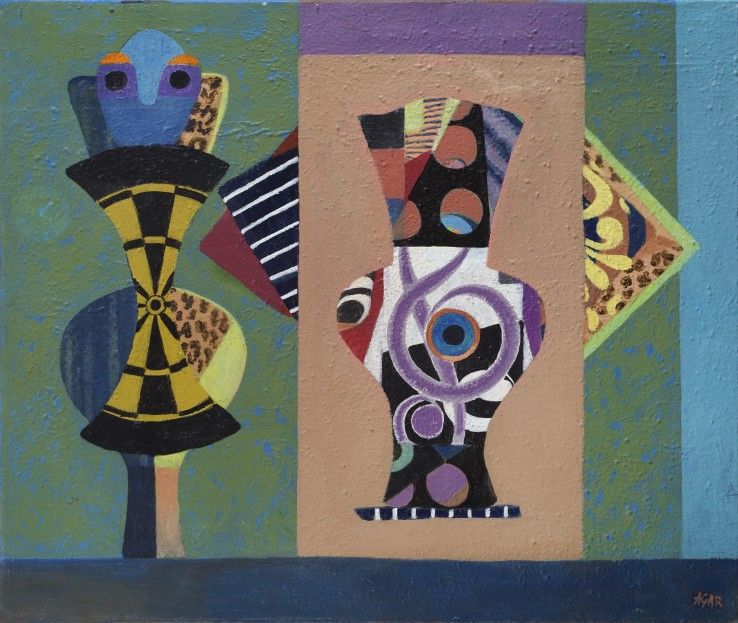 Eileen Agar RA  Urn Burial, 1989  Acrylic on canvas  64 x 76 cm  Signed lower right; dated verso