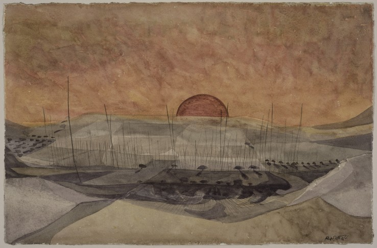 Alan Reynolds  Sunset, Kent, 1957  Watercolour and pencil on paper  22 x 35 cm  Signed and dated lower right; titled verso