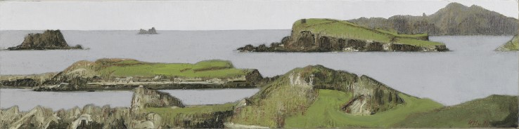 John Kelly  The Islands, 2016  Oil on canvas on board  15 x 61 cm  Signed and dated lower right; titled verso