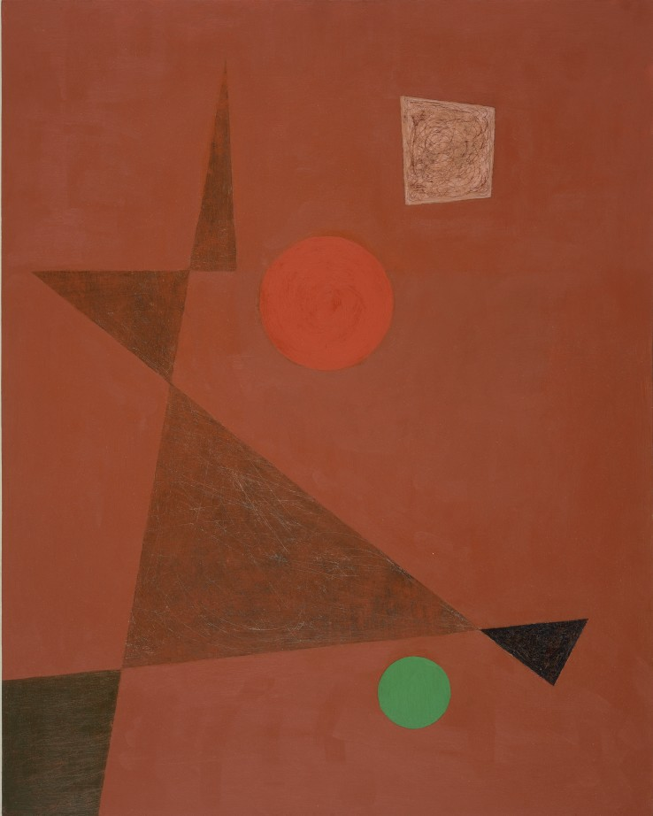 John Wells  On Red, 1963  Mixed media on board  61 x 48 cm  Signed, dated and titled verso
