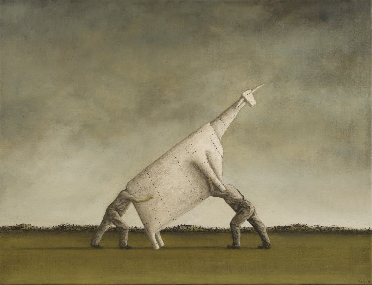 John Kelly  Two Men Lifting a Cow I, 2011  Oil on canvas  89 x 116 cm  Signed and dated lower right