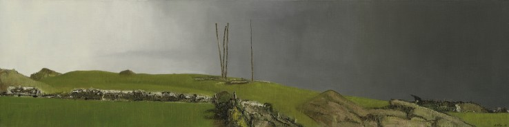 John Kelly  The Sticks (Rain Passing), 2016  Oil on board  31 x 122 cm  Signed and dated lower right; titled verso