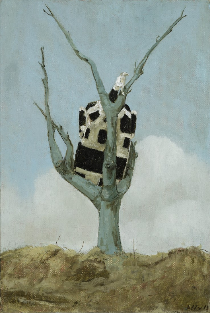 John Kelly  Cow up a Tree, 2013  Oil on canvas  35 x 24 cm  Signed and dated lower right