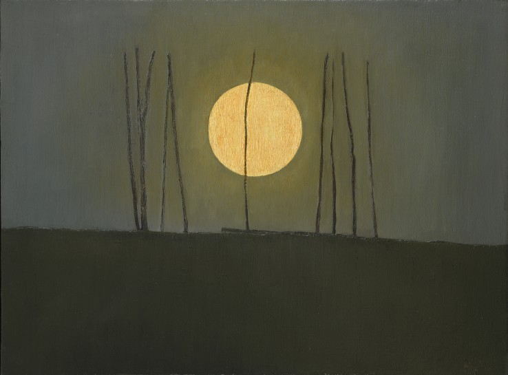 John Kelly  Full Moon with Sticks, 2013-2016  Oil on canvas on board  30 x 40 cm  Signed, dated and titled verso