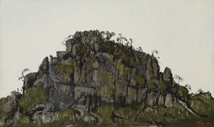 John Kelly  Hanging Rock (third study), 2015  Oil on canvas on board  24 x 40 cm  Signed and dated lower right; titled verso