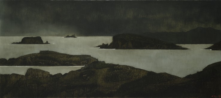 John Kelly  Islands and Approaching Storm, 2017  Signed and dated lower right; titled verso  Oil on canvas on board  41 x 93 cm