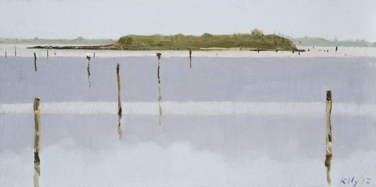John Kelly  Isola Santa Cristina, North Side, Venice, 2017  Oil on canvas on board  15 x 31 cm  Signed and dated lower right; titled verso