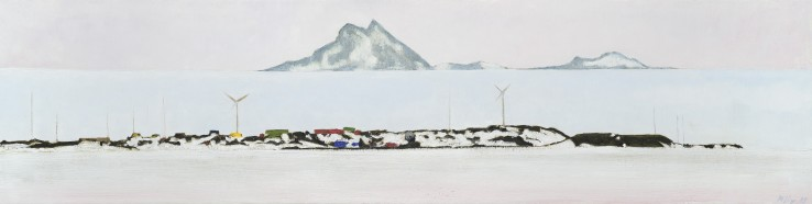 John Kelly  Mawson, Antarctica, 2013-2018  Oil on canvas on board  31 x 122 cm  Signed and dated lower right; titled verso