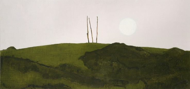 John Kelly  Moon and Sentinel, 2017  Oil on canvas on board  29 x 61 cm  Signed and dated lower left; titled verso