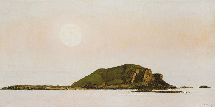 John Kelly  Moonrise over High and Low Islands, 2017  Oil on canvas on board  40 x 81 cm  Signed and dated lower right