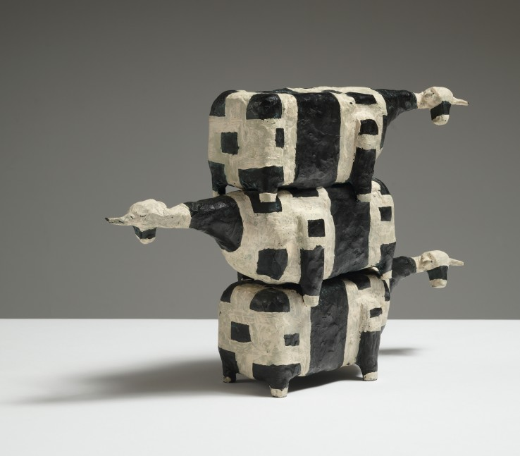 John Kelly  Three Cows in a Pile, 2001  Painted bronze  23 x 23 x 9 cm  From an edition of 9