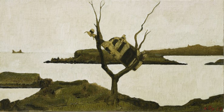 John Kelly  Cow up a Tree, South Reen III, 2017  Oil on canvas on board  16 x 31 cm  Signed and dated lower right; titled verso