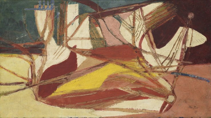 Stanley William Hayter  Composition, 1935  Oil on board  21 x 37.5 cm  Signed and dated lower right