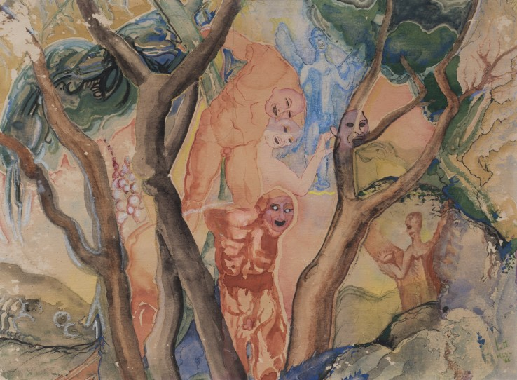 Arthur Lett-Haines  Les Anges de Michel au Jardin, 1963-66  Watercolour on paper  27 x 37 cm  Signed and dated lower right