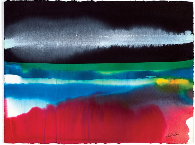 Paul Jenkins  Phenomena Another Dawn, 1986  Watercolour on paper  57.2 x 75.6 cm  Signed lower right; signed, titled and dated verso