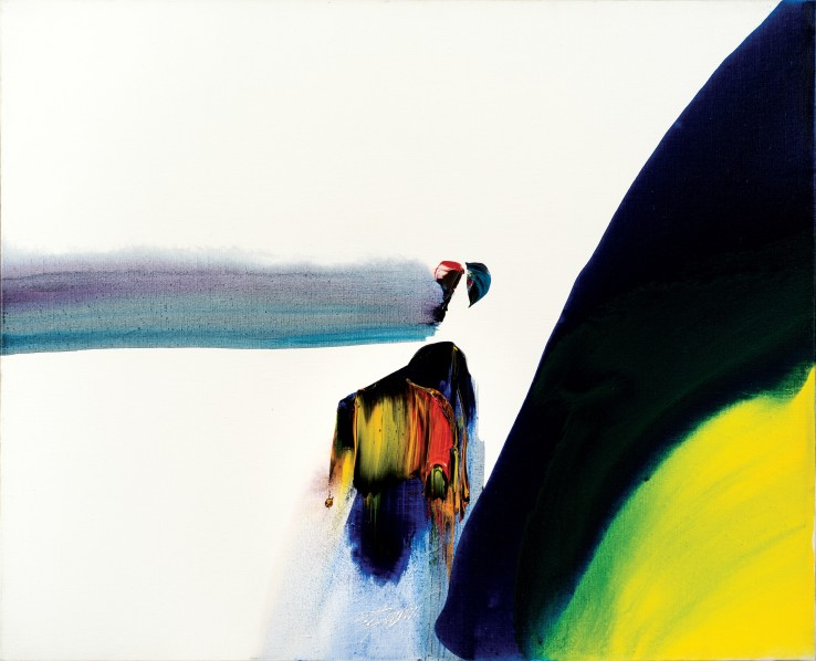 Paul Jenkins  Phenomena Sweep of Dawn, 1990  Acrylic on canvas  81.3 x 99.1 cm  Signed, dated and titled verso