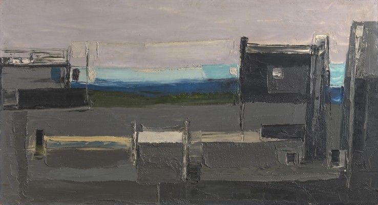 Paul Feiler  Evening Harbour, Low Tide, 1953  Oil on board  50 x 92 cm  Signed and dated lower right; titled verso