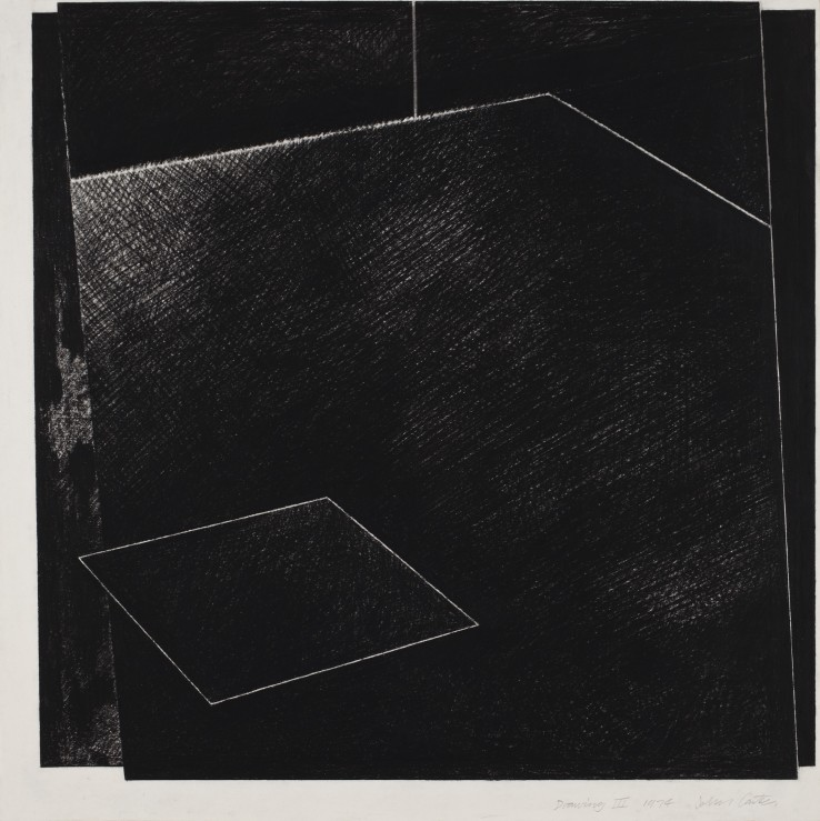 John Carter RA  Drawing III (Place), 1974  Conté on paper  59.5 x 59.5 cm  Signed, dated and titled lower right
