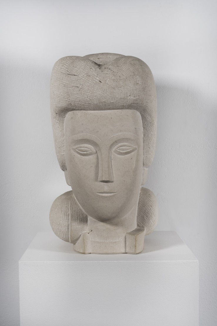 George Kennethson  Head of a Girl  White Purbeck  40 x 20 x 25 cm