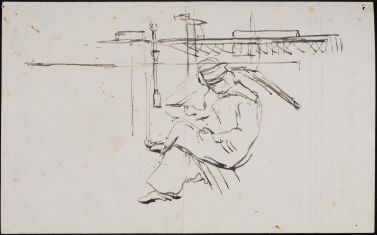 Paul Feiler  Sketch for Pier, 1946  Ink on paper  13 x 22 cm