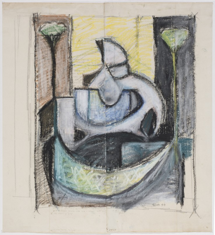 Paul Feiler  Mother and Child Study, 1949  Pastel and pencil on paper  32 x 26 cm  Signed and dated lower right