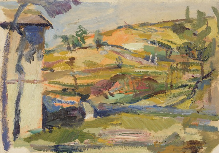 Paul Feiler  Landscape near Assisi, 1950  Oil on paper  18 x 25 cm  Signed, dated and titled verso