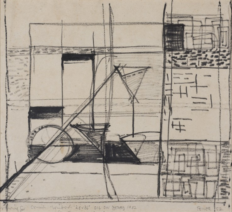 Paul Feiler  Drawing for the 1952 oil painting 'Falmouth Window', 1952  Flowmaster on paper  25 x 28 cm  Signed, dated and titled below image