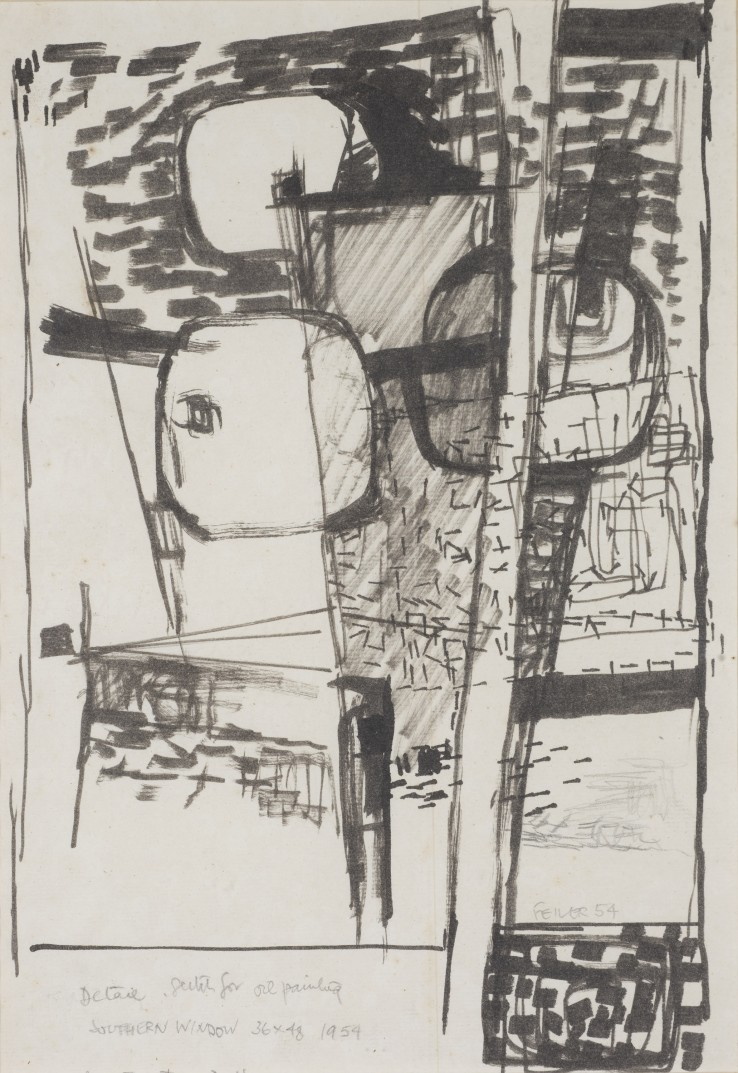 Paul Feiler  Detail, Sketch for the 1954 oil painting 'Southern Window', 1954  Flowmaster on paper  28 x 19 cm