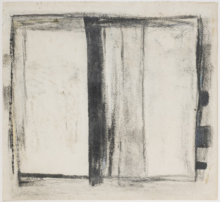 Paul Feiler  Divided Forms , 1956  Chalk on paper  32 x 36 cm