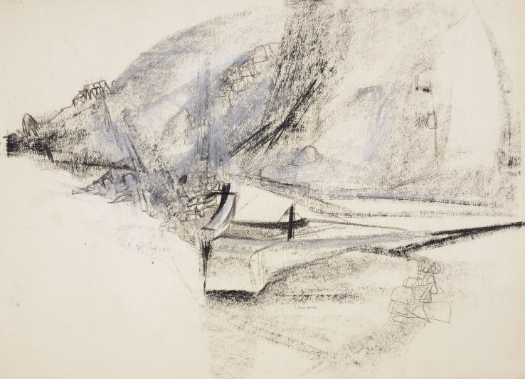 Paul Feiler  Lamorna, 1956  Conté and chalk on paper  38 x 53 cm  Signed, dated and titled lower centre