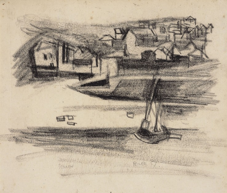 Paul Feiler  Sennen, 1957  Conté on paper  23 x 27 cm  Signed and dated lower centre