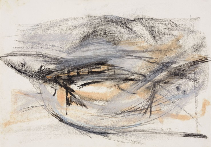 Paul Feiler  Harbour, 1958  Conté and chalk on paper  25 x 36 cm  Signed and dated lower right